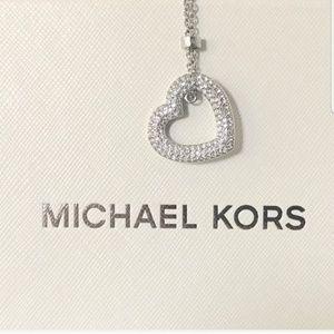 NWT authentic MK silver tone heart pendant